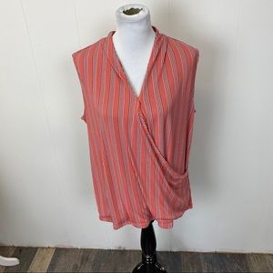 Adrianna Papell Orange Striped Cross Over Blouse